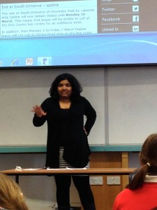 Our Union Chair, Aparna, delivering the final speech of side Proposition at the semi-final.